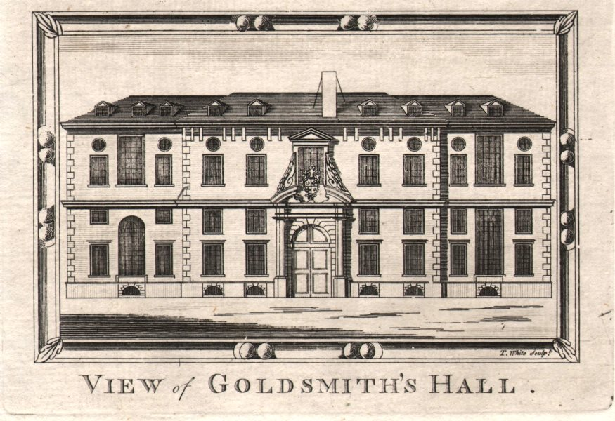 """Associate Product """"View of Goldsmith's Hall"""", City of London. HARRISON 1776 antique print"""