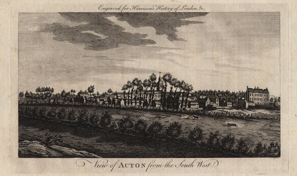 """Associate Product """"View of Acton from the south-west"""". London. HARRISON 1776 old antique print"""
