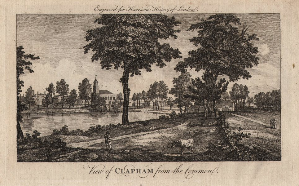 """""""View of Clapham from the Common"""". London. HARRISON 1776 old antique print"""