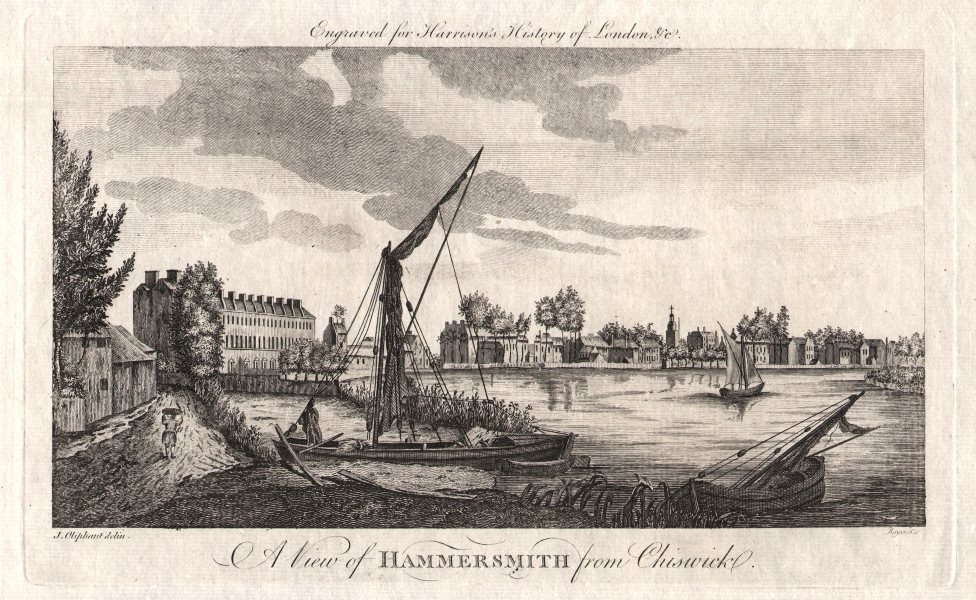 """""""A view of Hammersmith from Chiswick"""", London. HARRISON 1776 old antique print"""
