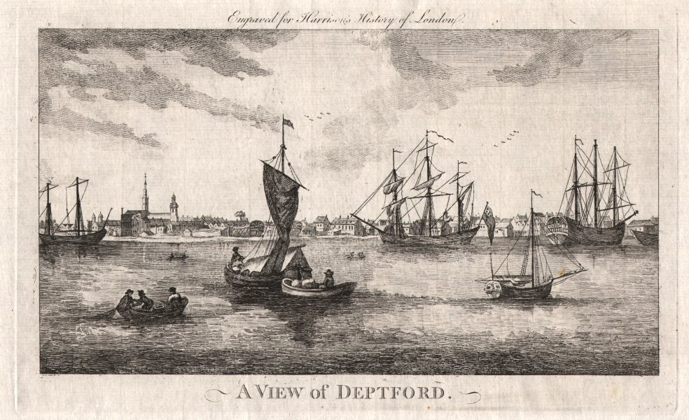 """Associate Product """"A view of Deptford"""", London. HARRISON 1776 old antique vintage print picture"""