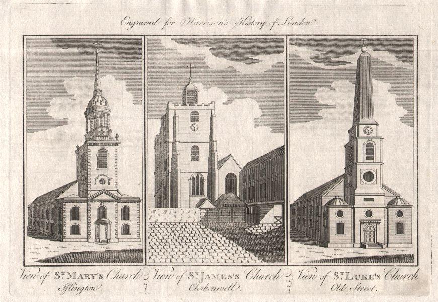 Associate Product St Mary's Church Islington Old St James's Clerkenwell St Luke's Old Street 1776