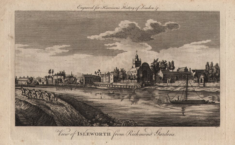 """Associate Product """"View of Isleworth from Richmond Gardens"""". London. HARRISON 1776 old print"""