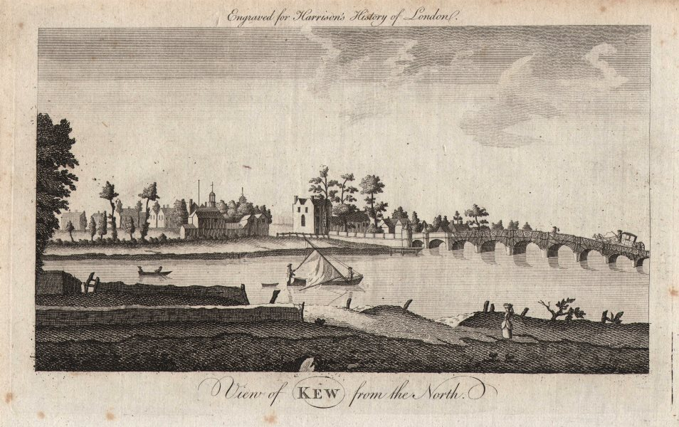 """Associate Product """"View of Kew from the north"""". London. HARRISON 1776 old antique print picture"""