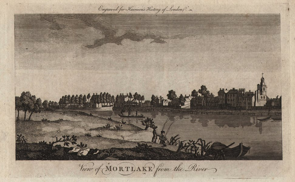 """Associate Product """"View of Mortlake from the river"""". London. HARRISON 1776 old antique print"""