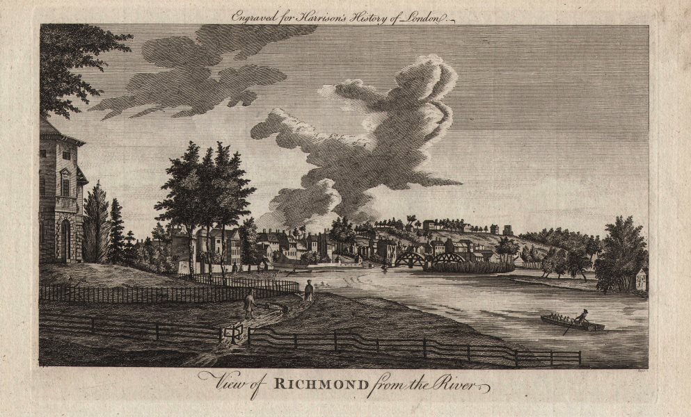 """""""View of Richmond from the river"""". London. HARRISON 1776 old antique print"""