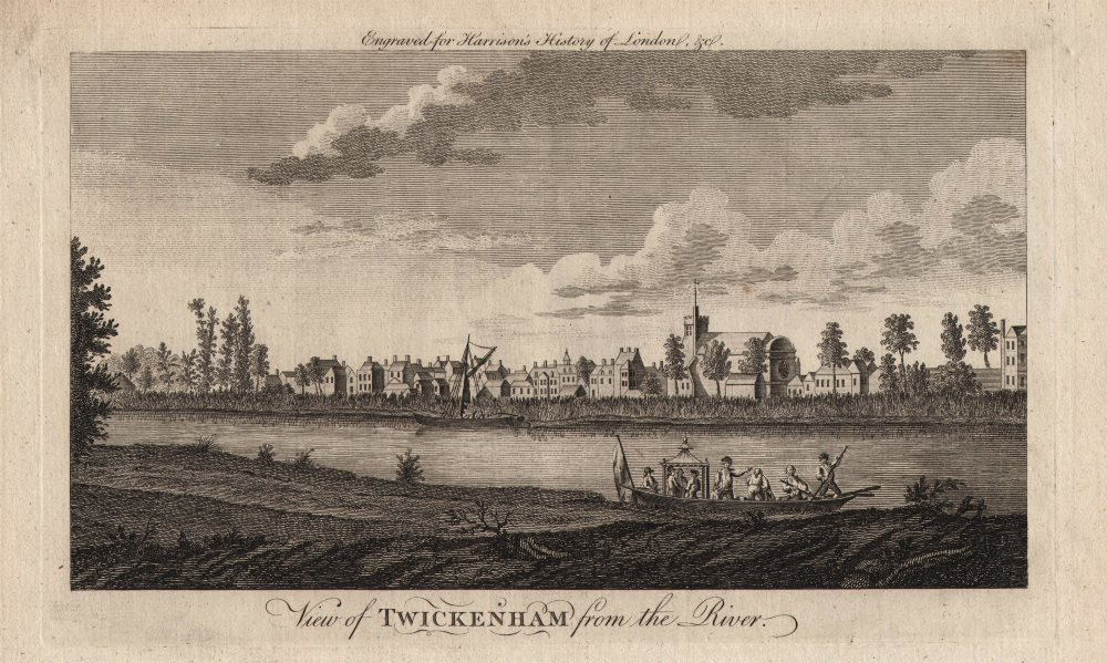 """Associate Product """"View of Twickenham from the river"""", London. HARRISON 1776 old antique print"""