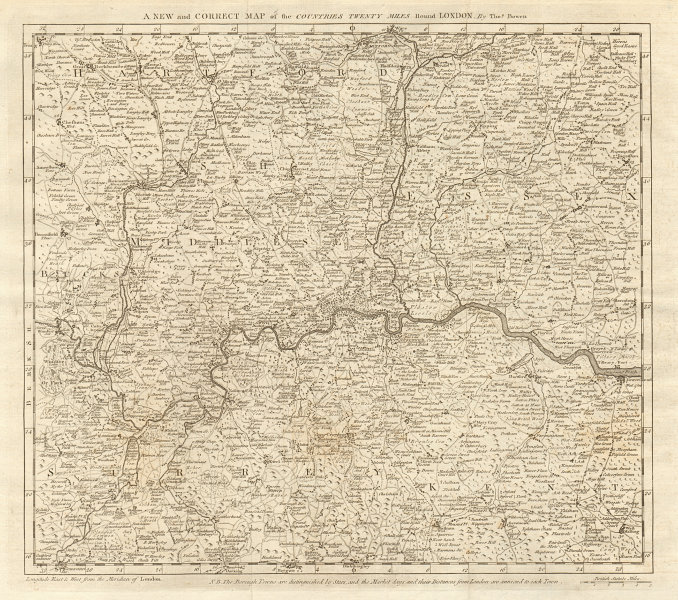 """""""A new & correct map of the countries 20 miles round London"""". Thomas BOWEN 1776"""