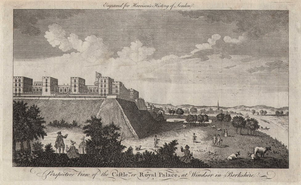 """""""View of the castle, or Royal Palace, at Windsor in Berkshire"""". HARRISON 1776"""