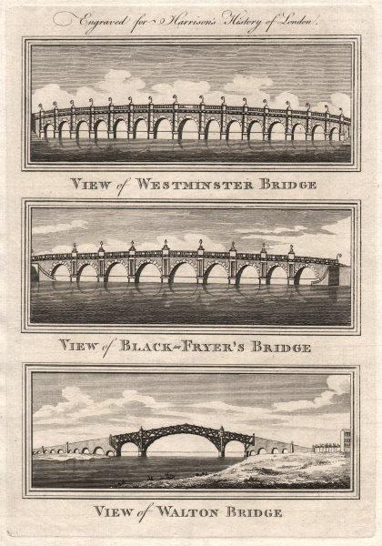 Associate Product Westminster, Blackfriars & Walton Bridges. Blackfryers. London. HARRISON 1776