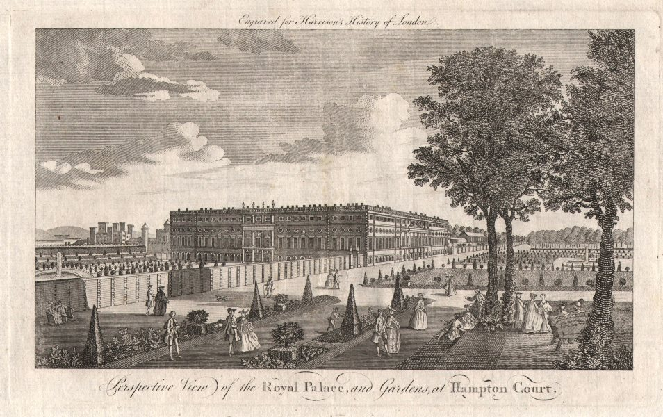 """""""Perspective view of the Royal Palace & gardens at Hampton Court"""". HARRISON 1776"""