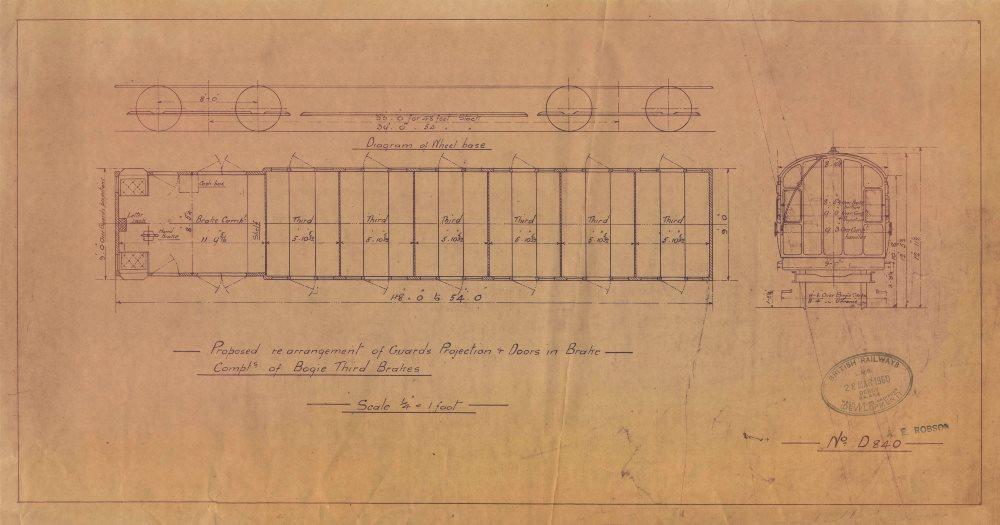 Associate Product Guards Projection Doors Bogie Third Brake. British Rail engineering drawing 1960