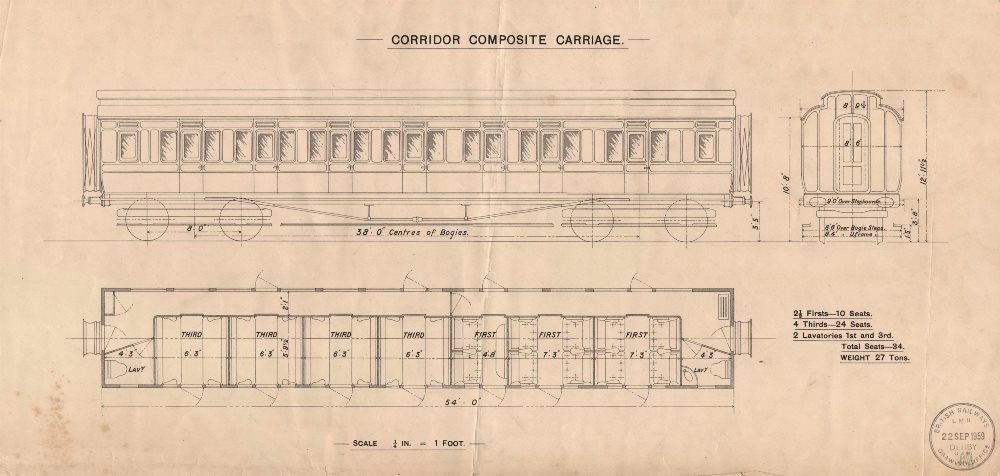Associate Product Corridor Composite Carriage. Rail engineering drawing 1959 old vintage print