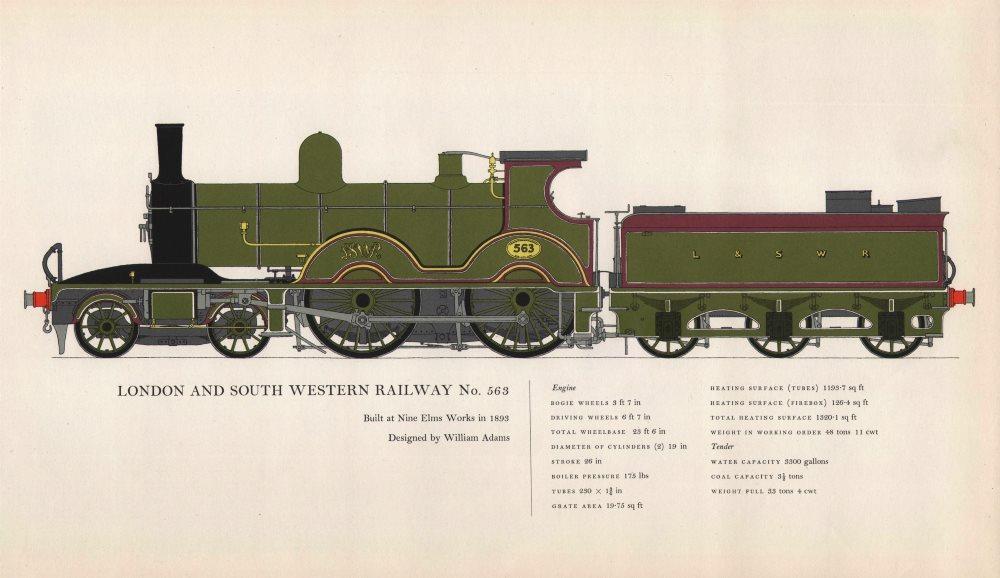 Associate Product London & South Western Railway locomotive #563 Nine Elms 1893 Adams 1958 print
