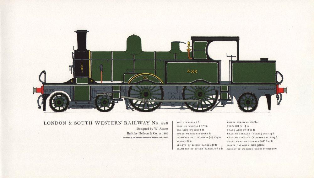London & South Western Railway locomotive #488 Adams 1885. Neilson 1967 print