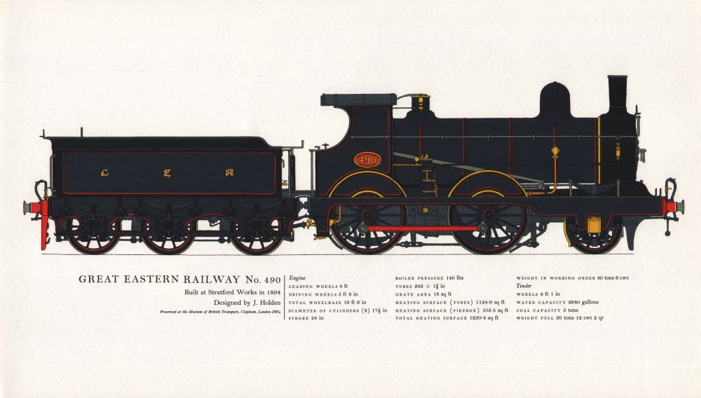 Associate Product Great Eastern Railway locomotive #490. Stratford 1894. J. Holden 1967 print