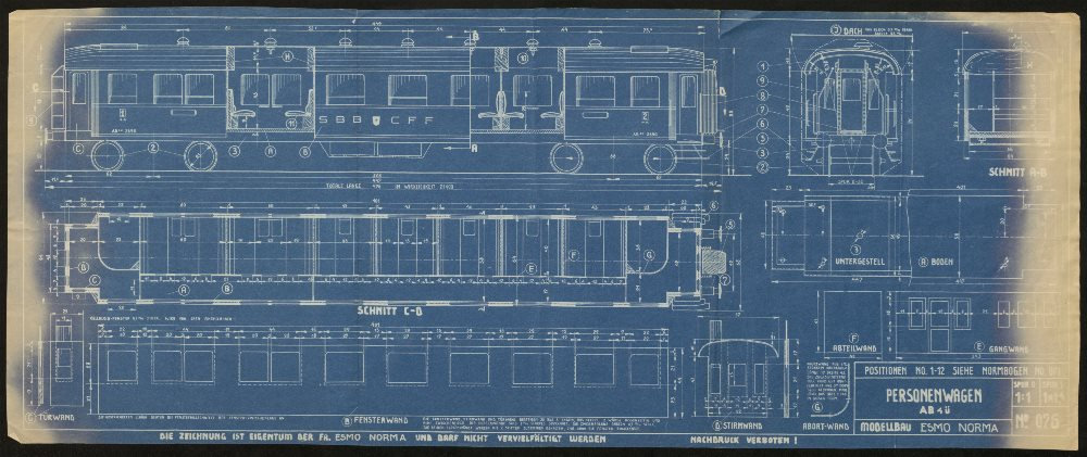 Associate Product Personenwagen AB 4ü #76 Swiss Railways passenger carriage SBB CFF c1935 print