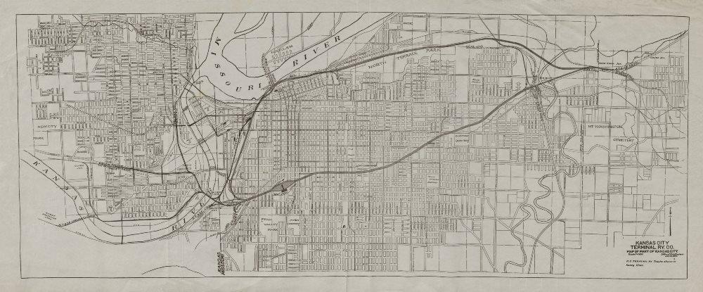 Associate Product Kansas City plan showing Terminal Railway Co. Missouri 1907 old antique map