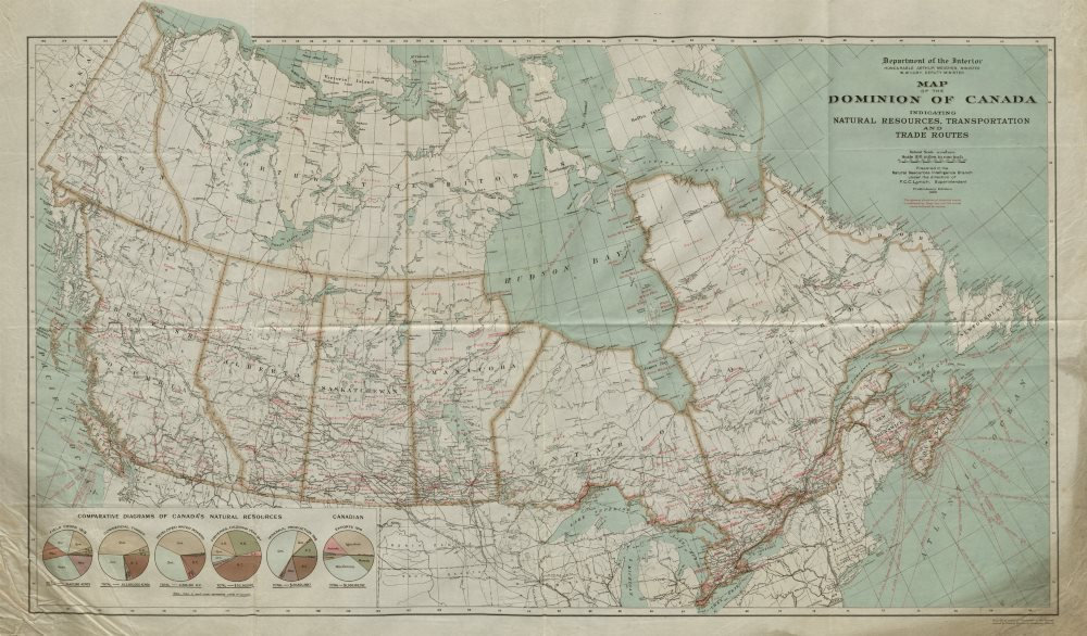 Associate Product Dominion of Canada. Natural resources transport & trade routes 1920 old map