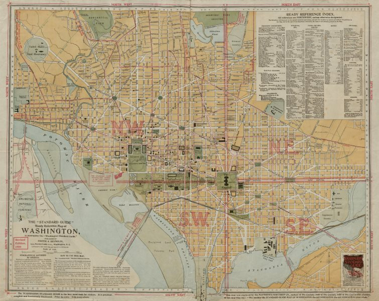 """Associate Product The """"Standard Guide"""" Ready Reference Map of Washington DC 1909 old antique"""