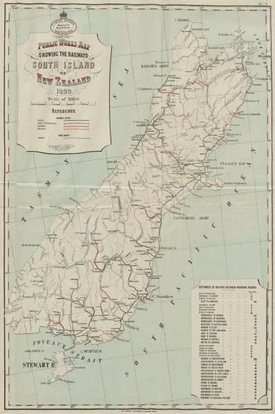 Associate Product South Island New Zealand railways. Open proposed explored in progress 1909 map