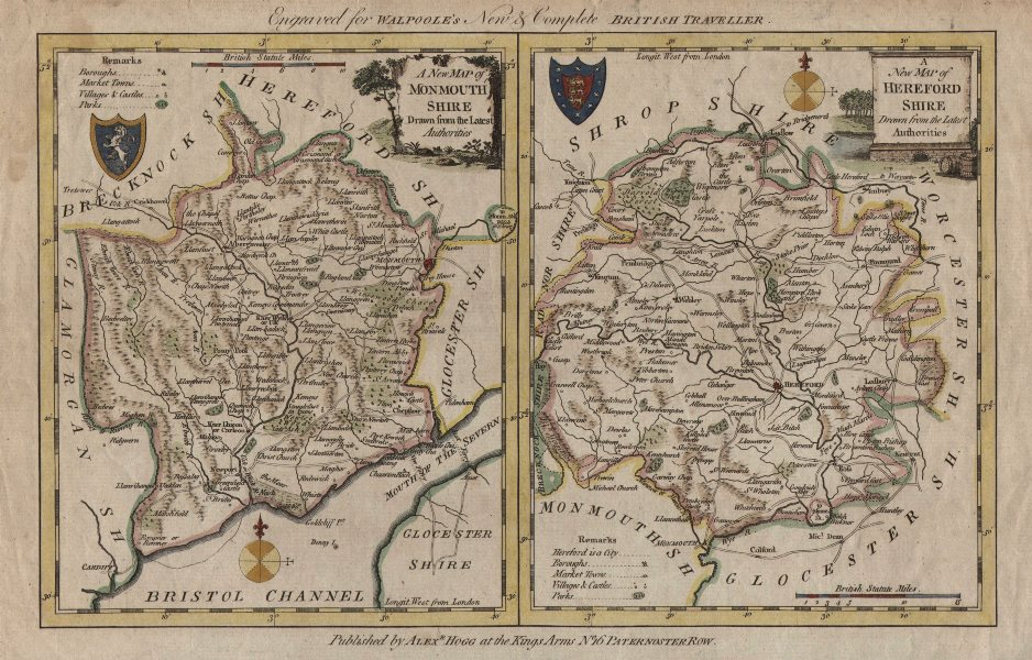 Associate Product Monmouthshire & Herefordshire. 2 county maps on one sheet. WALPOOLE / HOGG c1784