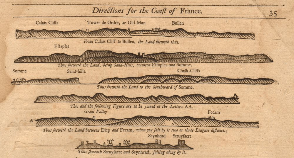 Associate Product France coast profile Pas-de-Calais Boulogne Etaples Dieppe MOUNT & PAGE 1749 map
