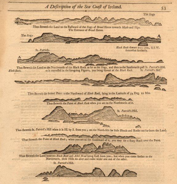 Mayo Sligo coast profile Broadhaven Moyle Achill Head. MOUNT & PAGE 1749 map