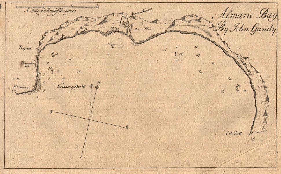 "Associate Product ""Almarie Bay"". Almeria. Roquetas de Mar. Cabo de Gata. GAUDY sea chart 1747 map"