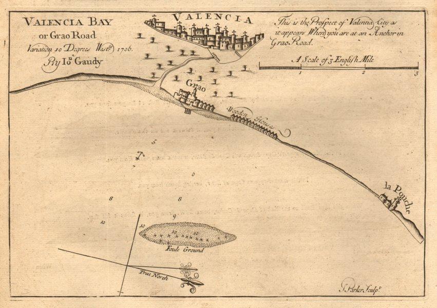 "Associate Product ""Valencia bay or Grao road "". Spain. GAUDY coastal & sea chart 1747 old map"