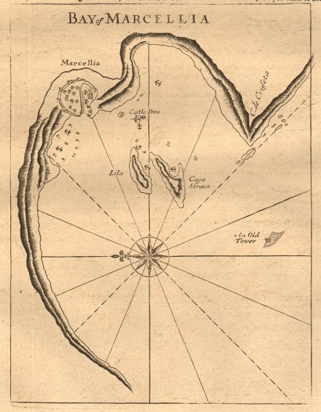 """Associate Product """"Bay of Marcellia"""". Marseilles. Chateau d'If &c. MOUNT & PAGE sea chart 1747 map"""