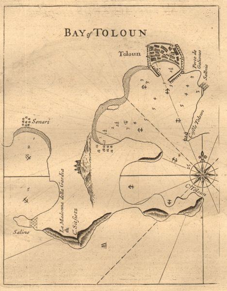"""Associate Product """"Bay of Toloun"""". Toulon. Sanary-sur-Mer. MOUNT & PAGE sea chart 1747 old map"""