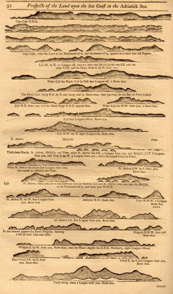 Associate Product Croatia Dalmatian islands coast profile I. Venetian names. MOUNT & PAGE 1747 map
