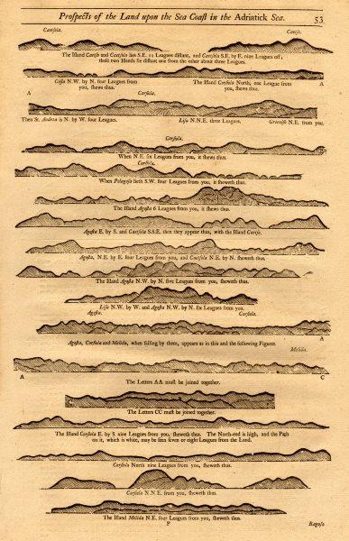 Croatia Dalmatian islands coast profile II. Venetian names MOUNT & PAGE 1747 map
