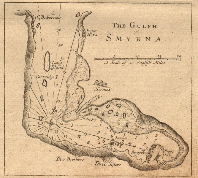 """The Gulph of Smyrna"". Gulf of Izmir, Turkey. MOUNT & PAGE sea chart 1747 map"