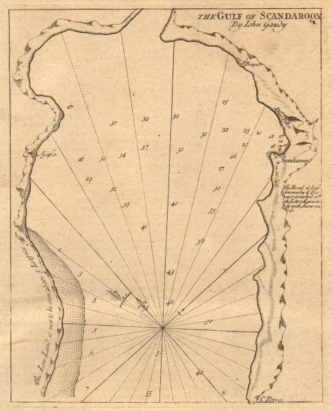 "Associate Product ""The gulf of Scandaroon"" Alexandretta Iskenderun Turkey GAUDY sea chart 1747 map"