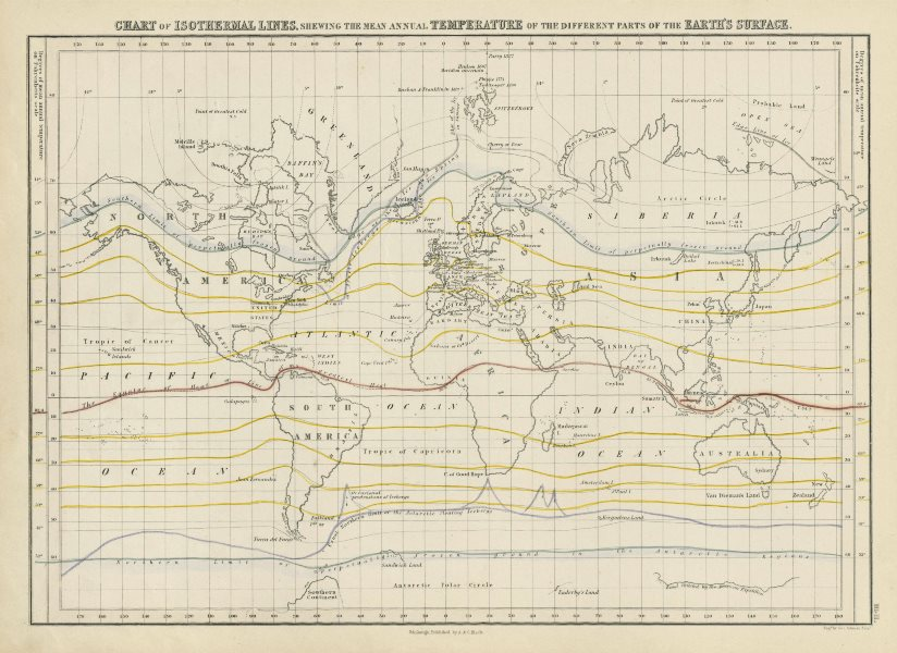 Associate Product World chart of isothermal lines. Mean annual temperature. GEORGE AIKMAN 1856 map