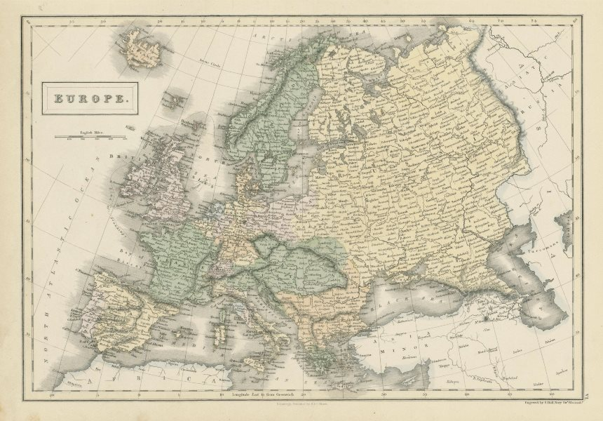 Associate Product Europe by SIDNEY HALL. Prussia Austria Turkey in Europe &c 1856 old map