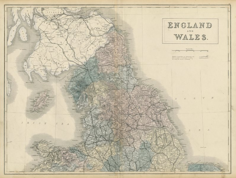 Map Of England And Wales.England And Wales North Sheet Railways Sidney Hall 1856 Old