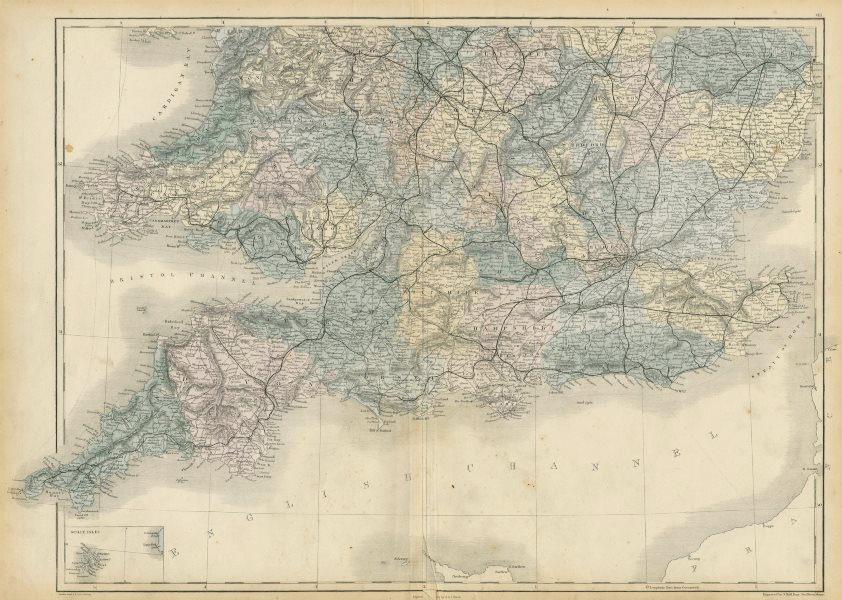 Associate Product England and Wales. South sheet. Railways. SIDNEY HALL 1856 old antique map