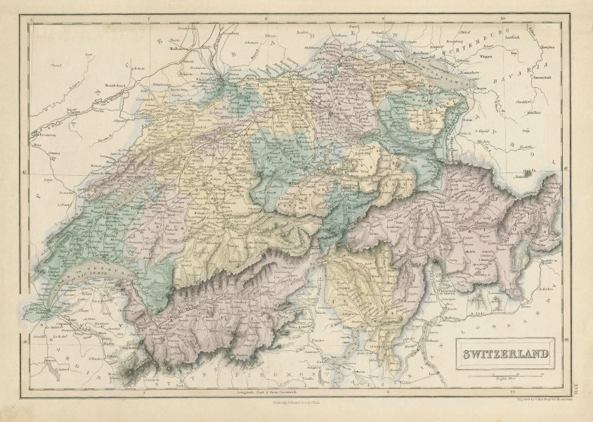 Associate Product Switzerland showing cantons, rivers & roads. SIDNEY HALL 1856 old antique map