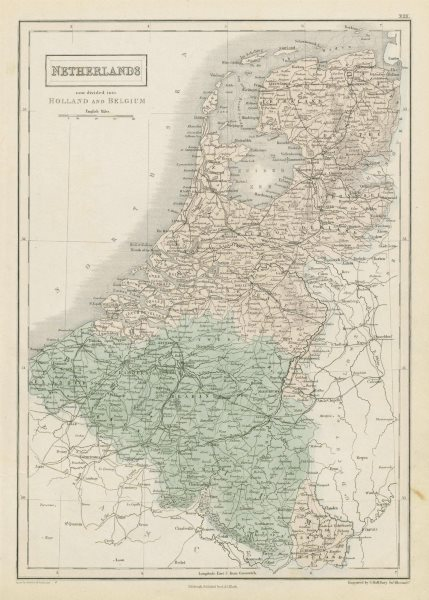 """Associate Product """"Netherlands, now divided into Holland & Belgium"""". Benelux. SIDNEY HALL 1856 map"""