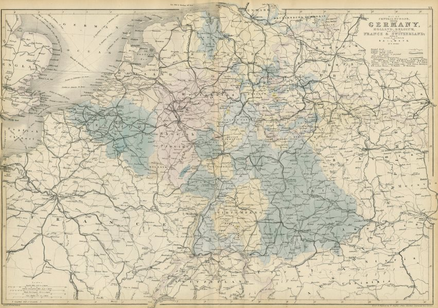 Map Of Germany Netherlands And Belgium.Central Europe Roads Canals Railways Germany Holland Belgium