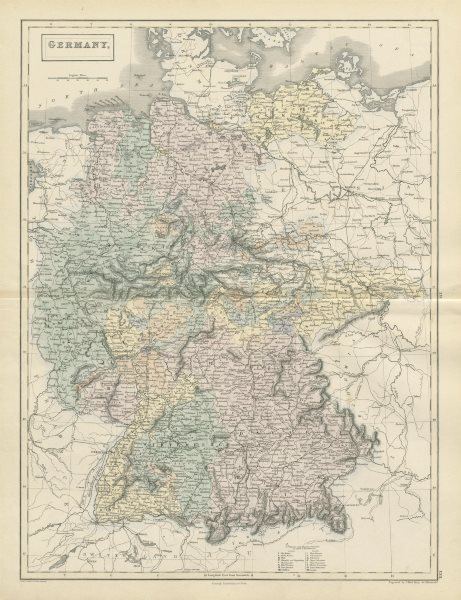 Associate Product Germany showing states, by SIDNEY HALL 1856 old antique vintage map plan chart