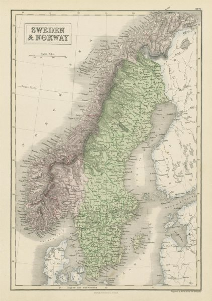 Associate Product Sweden & Norway. Scandinavia showing provinces. SIDNEY HALL 1856 old map