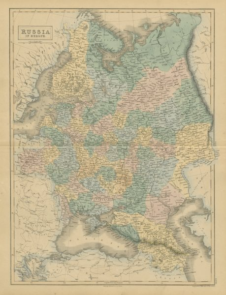 Associate Product Russia in Europe by SIDNEY HALL 1856 old antique vintage map plan chart