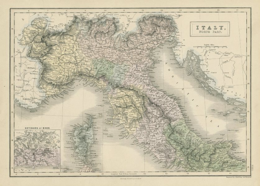 Associate Product Italy, north part. Savoie Papal states Austrian Lombardy. SIDNEY HALL 1856 map