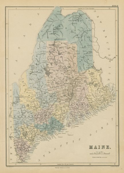 Associate Product Maine state map showing counties. JOHN BARTHOLOMEW 1856 old antique chart