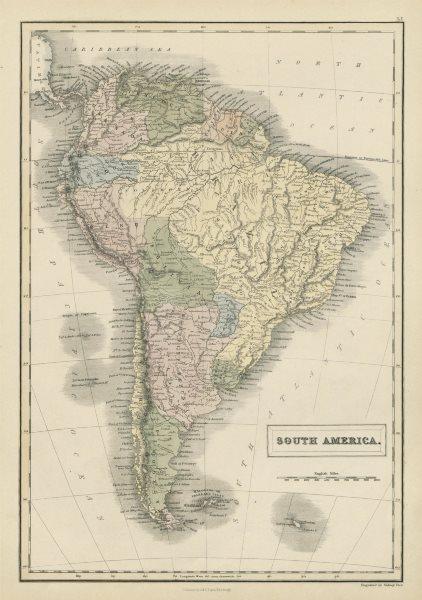 Associate Product South America. Bolivia with Litoral. New Granada. Banda Oriental. HALL 1856 map