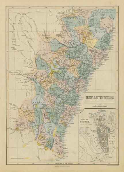New South Wales showing gold rush districts. Inset Sydney city plan 1856 map